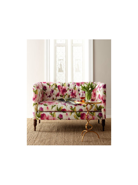 Floral Settee - I love a good feminine and flirty floral! This diamond tufted settee is most certainly feminine and flirty and would look so sweet in an office.