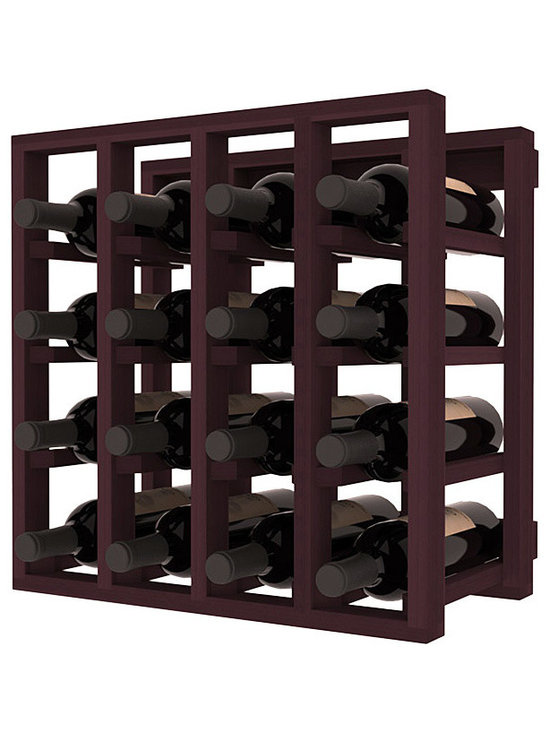 Lattice Stacking Wine Cubicle in Redwood with Burgundy Stain - Designed to stack one on top of the other for space-saving wine storage our stacking cubes are ideal for an expanding collection. Use as a stand alone rack in your kitchen or living space or pair with the 20 Bottle X-Cube Wine Rack and/or the Stemware Rack Cube for flexible storage.