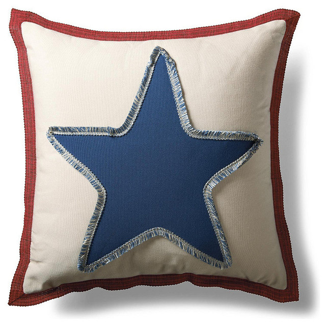 Americana Star Fringed Outdoor Pillow traditional-outdoor-pillows