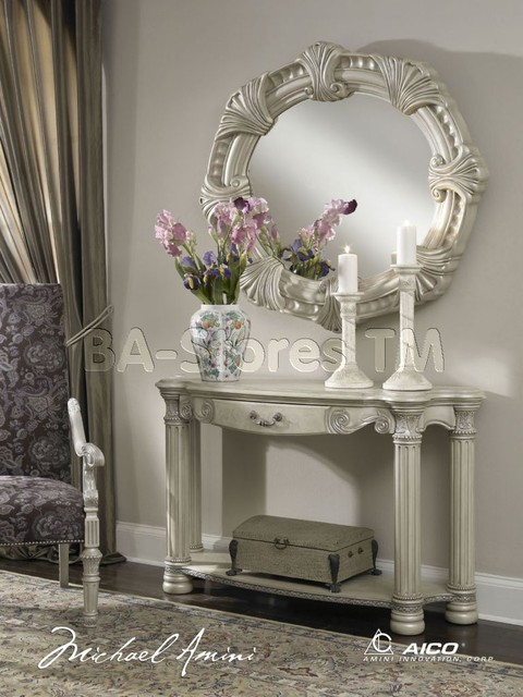 Beverly Foyer Mirror : Monte carlo ii console table with mirror set in silver