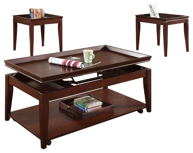 Steve Silver Company Clemens 3 Pack Lift Top Casters Cocktail And End Tables Set Contemporary