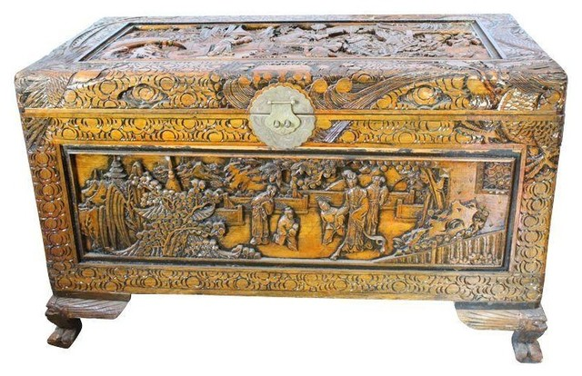 Pre Owned Antique Chinese Hand Carved Chest Asian Accent Chests And