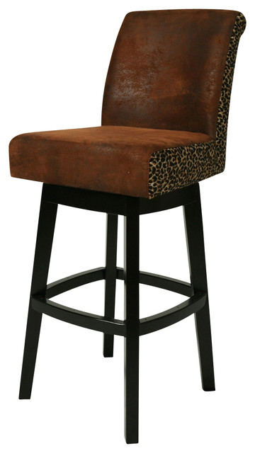 Pastel Lake Village Feher Black Barstool - Black Leather - 30 Inch traditional-bar-stools-and-counter-stools