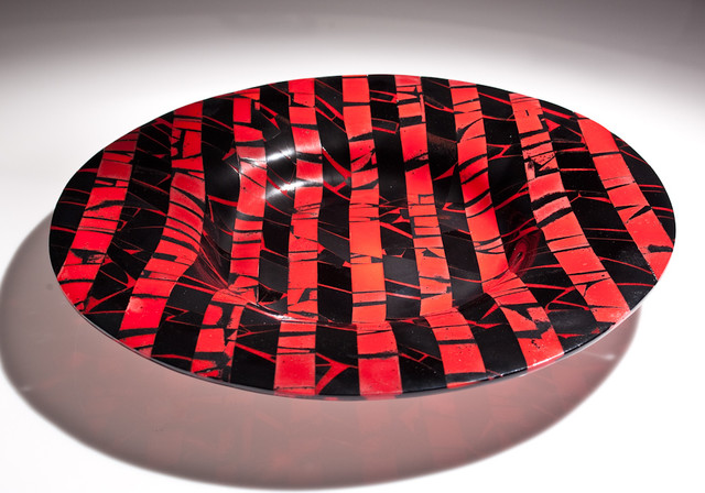 Red and Black Striped Bowl modern-artwork