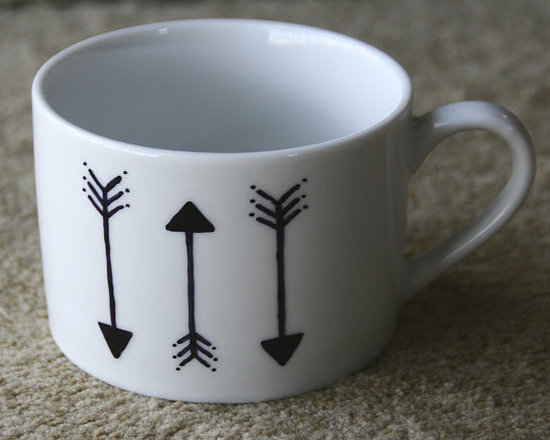 Arrows Black and White Ceramic Hand-Painted Coffee Mug by In The Art -