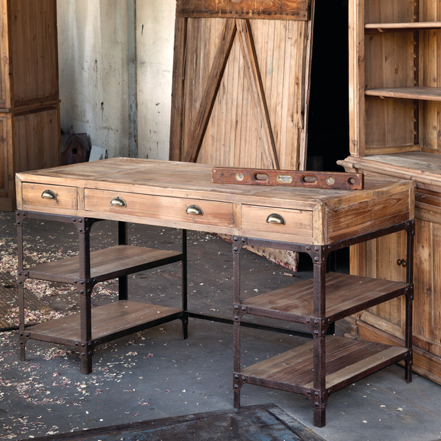 Vintage Style Pine Desk - Eclectic - Desks And Hutches - atlanta - by Iron Accents