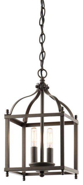 Foyer Caged Chandelier : Kichler lighting oz larkin two light cage foyer