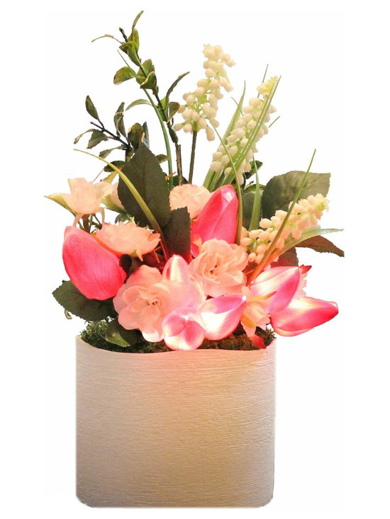 The Firefly Garden - Spring Tulips - Illuminated Floral Design, Fuchsia, White Ceramic Vase - Bring the beauty of light and flowers together with Spring Tulips, a perfect home accent for a nook, bathroom, or side table. These high quality tulips look and feel real. Lovely by day and breath-taking at night, simply turn on this battery operated floral arrangement and watch the tulips light up!