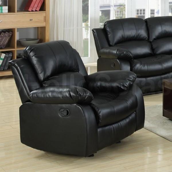 Knightsbridge Black Leather Recliner 3 + 2 Seater Sofa modern-sofas