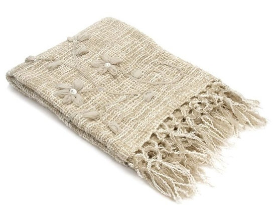 Belle & June - Beige Flower Throw - Neutral enough for any setting, and soft enough for every snuggle, this luxurious throw is a must for your decor. It's crafted of mohair and festooned with fringes and delicate flower appliques to add easy elegance anywhere you toss it.