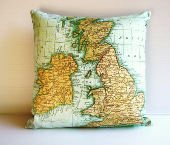 UK Map Pillow Cushion Cover by My Bearded Pigeon eclectic-pillows