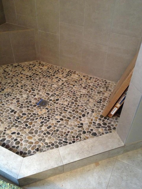 Pebble rock shower floor traditional detroit by troy tile