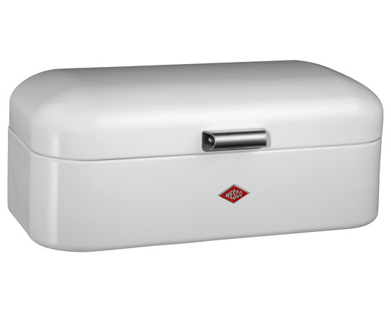 Wesco - Wesco Grandy Bread/Storage Box, White - Grandy Bread/Storage box is a modern version of a retro-classic.  Keep your bread, biscuits, or cake fresh in this stylish storage box manufactured from high quality powder coated sheet steel, with ventilation holes and metal handle.  Also ideal for your storage needs outside of the kitchen.  Manufactured by Wesco of Germany, who has supplied unrivaled quality steel kitchenwares since 1867, and continue to develop unique and innovative designs