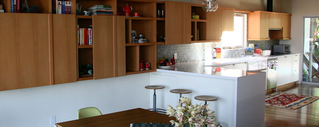Mix of IKEA and custom cabinets contemporary-kitchen