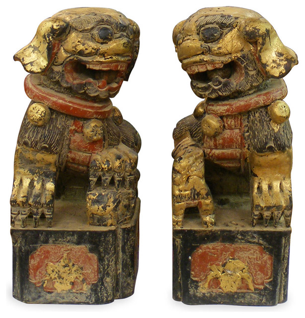 Hand Carved Wooden Foo Dogs 2pc/Set asian-sculptures