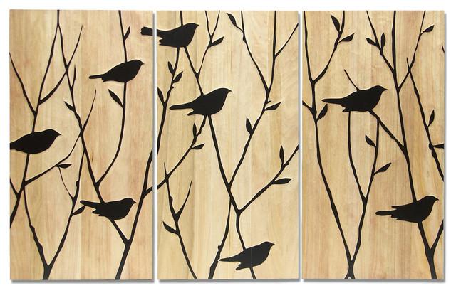 Black Birds Wall Decor, Set of 3 contemporary-wall-decor