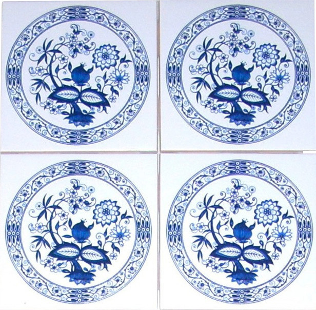 "Set of 4 - Blue Onion Ceramic Tiles 4.25"", Kiln Fired traditional"