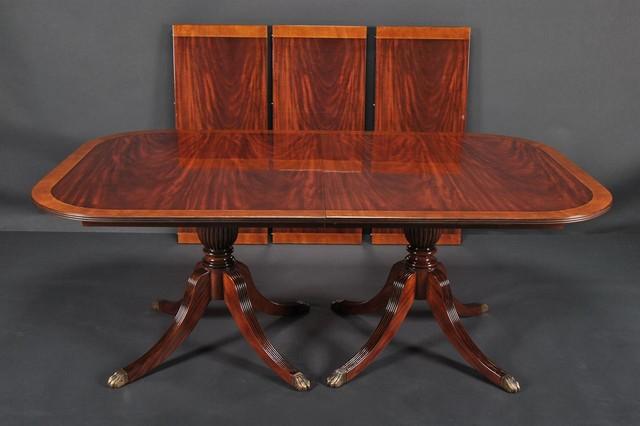 Duncan phyfe dining room table mahogany double pedestal for Duncan 5 dining room table