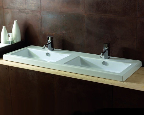 "Tecla - Modern Rectangular Twin Wall Mounted, Vessel, or Built-In Bathroom Sink - Modern rectangular double bathroom sink made of white ceramic in Italy by Tecla. This luxurious twin sink comes with overflow and the option of no faucet holes, 2 holes (as shown), or 6 holes. It can be a wall mounted, above counter vessel, or drop-in vanity sink. Sink dimensions: 47.24"" (width), 17.72"" (depth)"