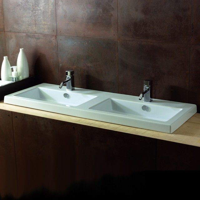 Modern Rectangular Twin Wall Mounted, Vessel, or Built-In Bathroom ...