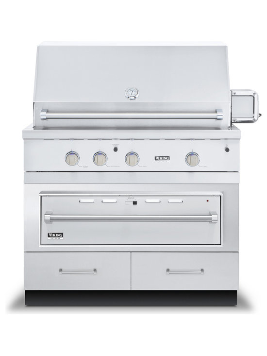 "Viking 42"" Grill Base Cabinet With Warming Drawer Access, Stainless 