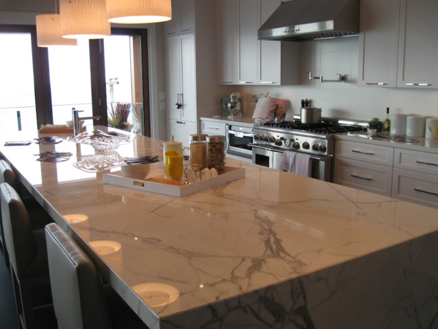 contemporary  kitchen island marble
