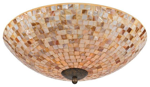 "Coastal Quoizel Monterey Mosaic 18"" Wide Flushmount Ceiling Light"