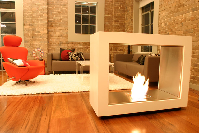 Ethanol fire features contemporary indoor fireplaces for Contemporary ventless fireplace