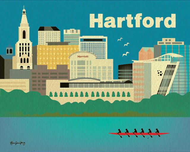 Hartford, Connecticut Skyline eclectic-artwork