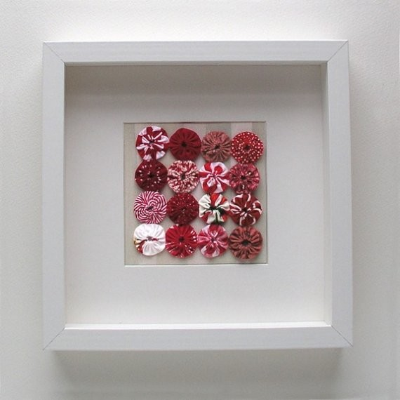 Framed Quilted Yo Yo Set in Reds by Robayre modern artwork