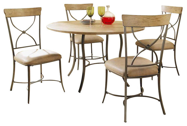 Hillsdale Charleston 5-Piece Round Dining Room Set with X-Back Chairs traditional-dining-sets