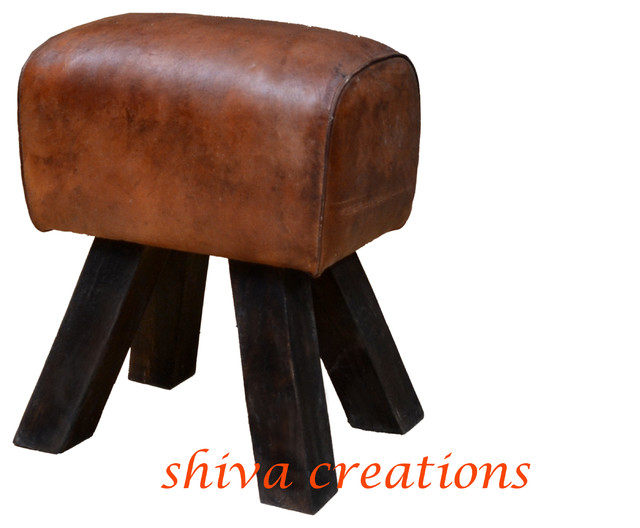 gymnastics leather stool India asian-footstools-and-ottomans
