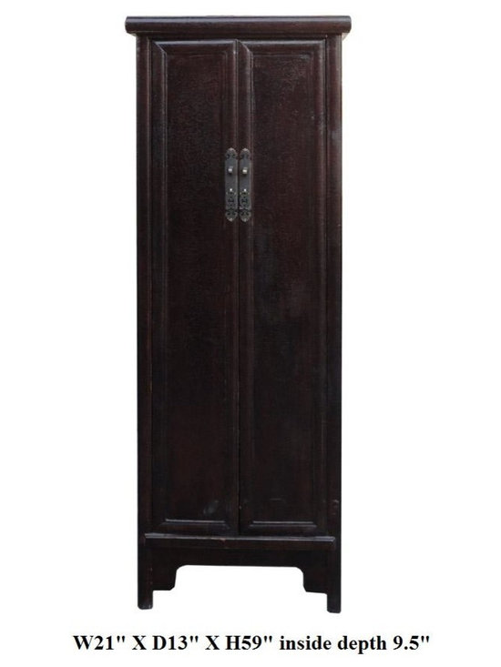 Chinese Rustic Brown Lacquer Narrow Slim Cabinet Cupboard - This is an oriental Chinese style slim cabinet with minor A shape look. The surface is rough rustic lacquer finish. Inside has a removable shelves for storage.