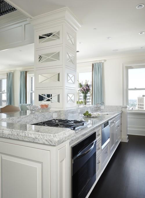 Natural Walnut Kitchen Island In Summit New Jersey: Kashmir White Granite Countertops White Cabinets