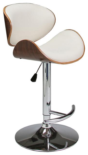Pastel Jordana Hydraulic Lift Barstool - Chrome & Walnut Veneer Wood - PU Ivory traditional-bar-stools-and-counter-stools
