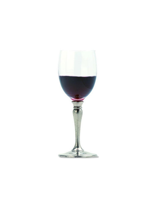 "Match Red Wine Glass - Handmade in Italy, Match stemware lends elegance to any setting. The red wine glass is made of crystal and pewter. Dimensions: 7.7""H."