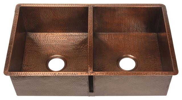 Belle Foret Model BFK2KIT Copper Double Bowl Kitchen Sink kitchen-sinks