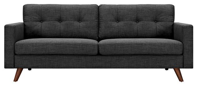 Charcoal Gray Uma Sofa Dark Walnut Wood Color Legs