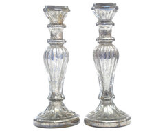 Silver Candle Stand Set traditional-candles-and-candleholders