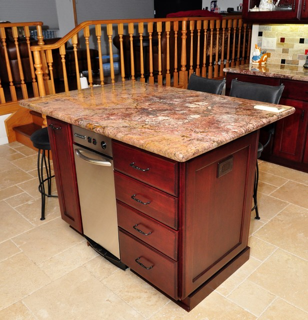 Dynasty Cherry wood Burgundy Onyx - modern - kitchen islands and