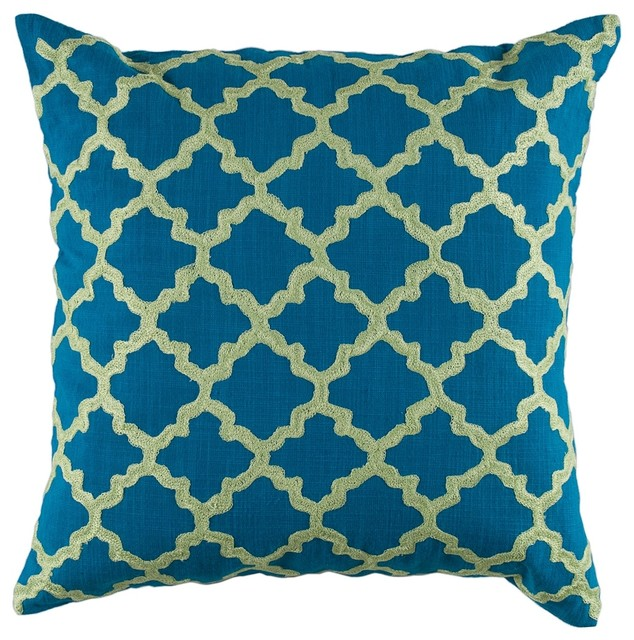 Decorative Pillows Blue Green : Peacock Blue Lime Green Graphic Design 18