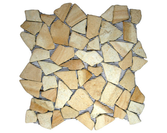 """CNK Tile - Sandstone Mosaic Tile - Each pebble is carefully selected and hand-sorted according to color, size and shape in order to ensure the highest quality pebble tile available.  The stones are attached to a sturdy mesh backing using non-toxic, environmentally safe glue.  Because of the unique pattern in which our tile is created they fit together seamlessly when installed so you can't tell where one tile ends and the next begins!     Usage:    Shower floor, bathroom floor, general flooring, backsplashes, swimming pools, patios, fireplaces and more.  Interior & exterior. Commercial & residential.     Details:    Sheet Backing: Mesh   Sheet Dimensions: 12"""" x 12""""   Pebble size: Approx 3/4"""" to 2 1/2""""   Thickness: Approx 1/2""""   Finish: Sandstone Natural"""