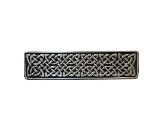 """Inviting Home - Celtic Isles Pull (antique pewter) - Hand-cast Celtic Isles Pull in antique pewter finish; 3-7/8""""W x 1""""H; Product Specification: Made in the USA. Fine-art foundry hand-pours and hand finished hardware knobs and pulls using Old World methods. Lifetime guaranteed against flaws in craftsmanship. Exceptional clarity of details and depth of relief. All knobs and pulls are hand cast from solid fine pewter or solid bronze. The term antique refers to special methods of treating metal so there is contrast between relief and recessed areas. Knobs and Pulls are lacquered to protect the finish."""