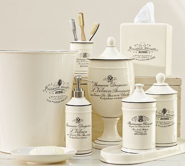 Black white apothecary bath accessories traditional for White bath accessories
