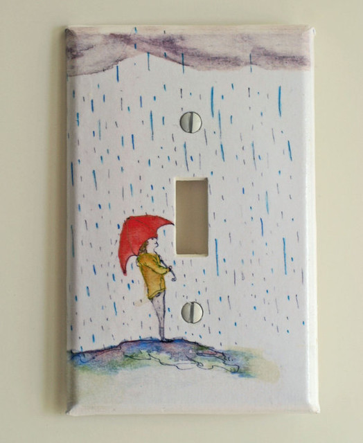 Standing in the Rain Decorative Light Switch Cover by Idillard contemporary-switch-plates-and-outlet-covers
