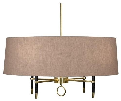 Robert Abbey Jonathan Adler Ventana Single Tier, Single Shade Chandelier in Bras traditional-chandeliers