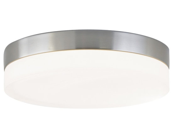 """Tech Lighting - Round Collection 11"""" Wide Ceiling/Wall Light Fixture - Add a modern style to your home with this minimal design contemporary ceiling light fixture. It features a satin nickel finish with a frosted glass. The light can be mounted to the wall or ceiling and is ADA compliant when mounted to the wall. From Tech Lighting. Includes two 40 watt G9 bulb. 11"""" wide. 2 1/2"""" high.  Satin nickel finish.  Frosted glass.  May be mounted to wall or ceiling.  Includes two 40 watt G9 bulb.   11"""" wide.   2 1/2"""" high."""