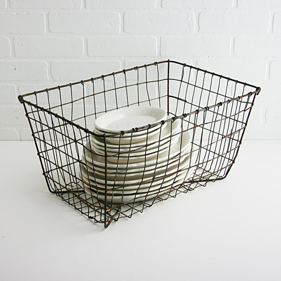 Vintage Industrial Wire Basket by Zinnia Cottage traditional baskets