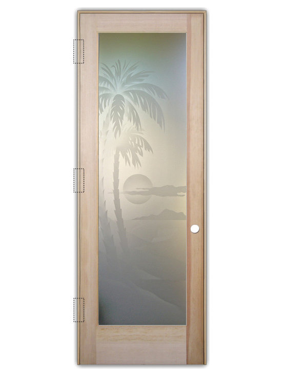 """Sans Soucie Art Glass (door frame material T.M. Cobb) - Interior Glass Door Sans Soucie Art Glass Palm Sunset 2D Private - Sans Soucie Art Glass Interior Door with Sandblast Etched Glass Design. GET THE PRIVACY YOU NEED WITHOUT BLOCKING LIGHT, thru beautiful works of etched glass art by Sans Soucie!  THIS GLASS PROVIDES 100% OBSCURITY.  (Photo is View from OUTside the room.)  Door material will be unfinished, ready for paint or stain.  Satin Nickel Hinges. Available in other wood species, hinge finishes and sizes!  As book door or prehung, or even glass only!  1/8"""" thick Tempered Safety Glass.  Cleaning is the same as regular clear glass. Use glass cleaner and a soft cloth."""