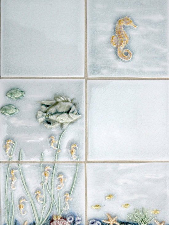 Sealife and Pond Themes - Pratt and Larson's handpainted sealife tile: